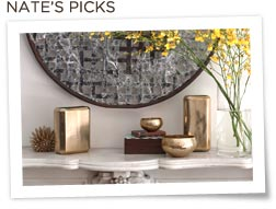 Shelf with Gold Nate Berkus vases and flowers