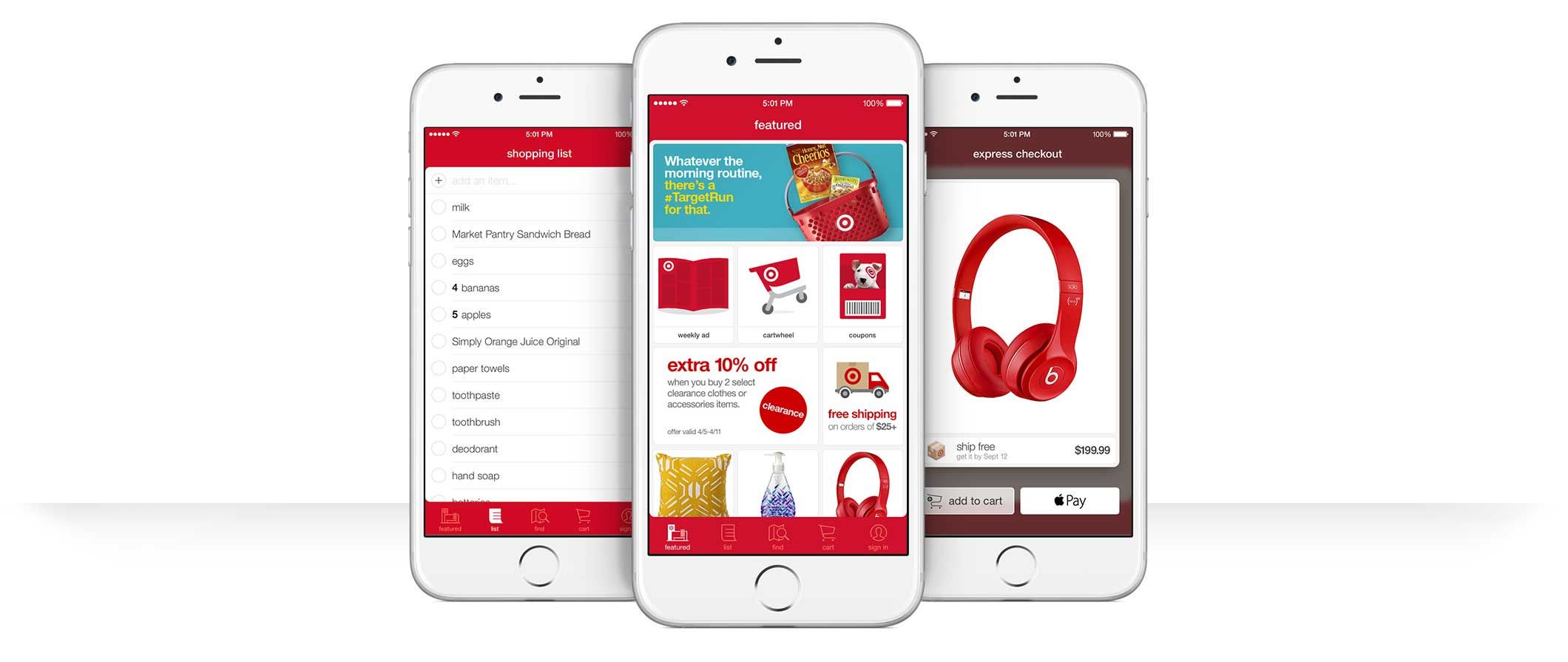 Target App Features include shopping list and express checkout