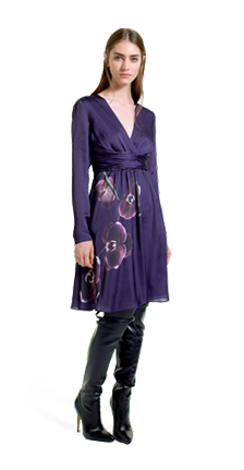 Dress in Purple Orchid Print – Over-the-Knee Boots in Black.
