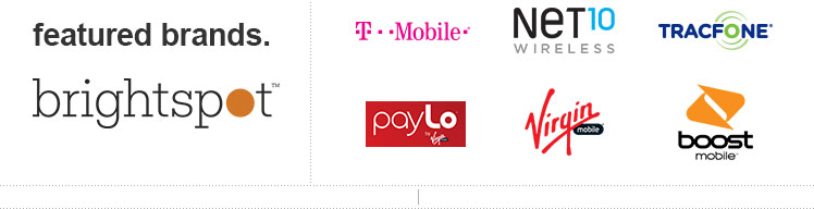 featured brands. - Brightspot, T-Mobile, payLo, NET10 WIRELESS, Virgin mobile, TRACFONE, boost mobile
