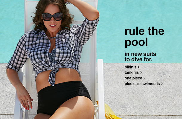 rule the pool. in new suits to dive for. Bikinis, tankinis, one piece, plus size swim