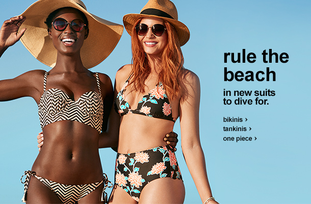 rule the beach in new suits to dive for. Bikinis, tankinis, one piece.