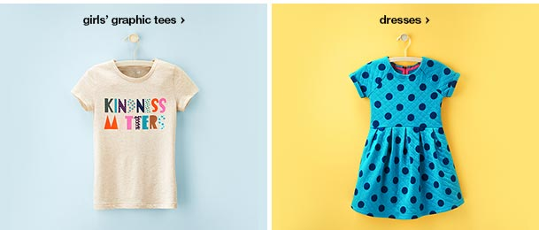 girls' graphic tees and dresses